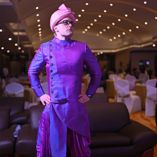 A Portrait full body photo of James Wiens, in Kolkata, at his own wedding where he got married to Yagyaseni Bhattacharya!