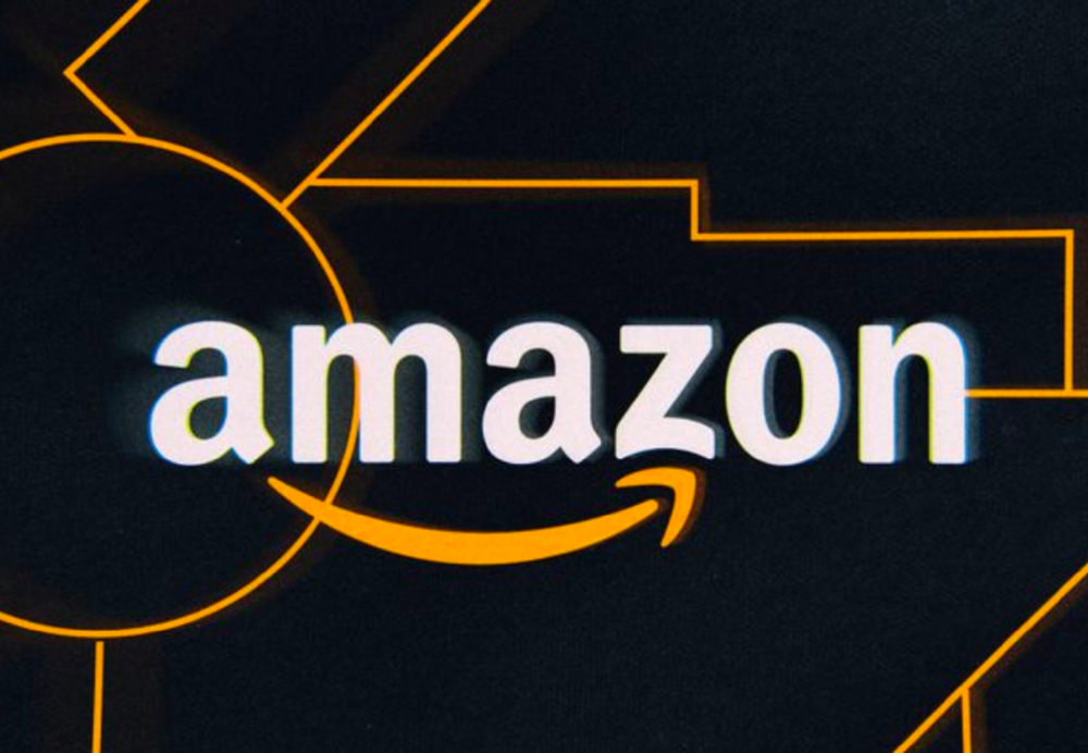 Amazon Web Services (AWS) logo with a dark background featuring orange lines
