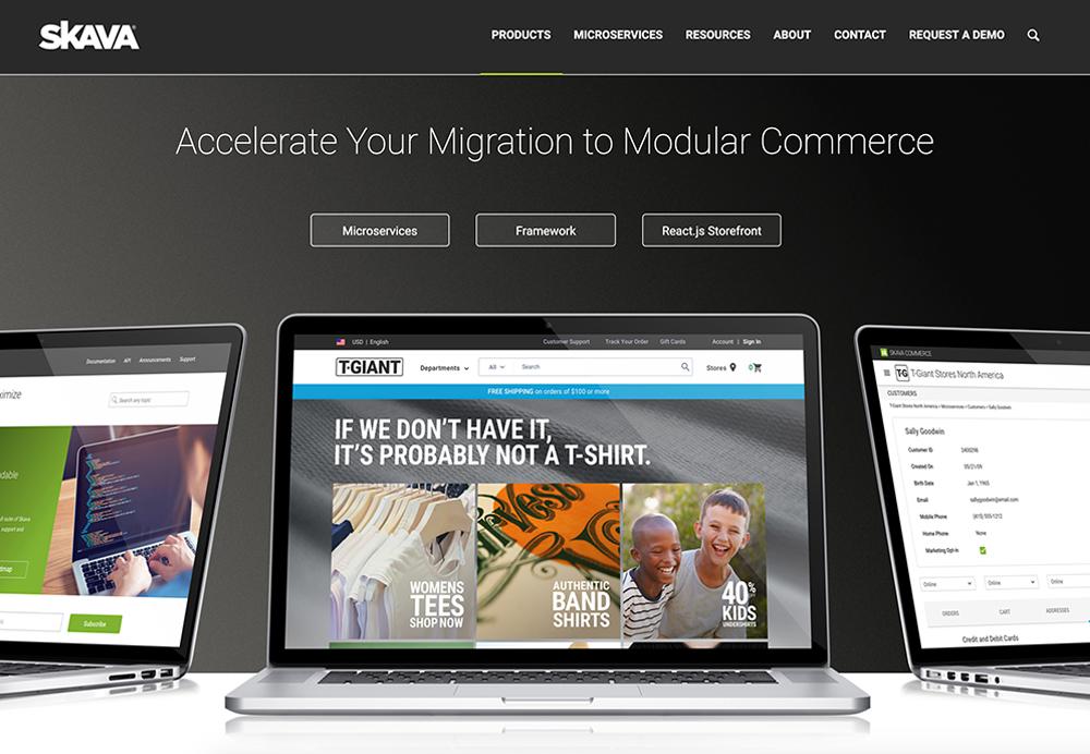 Skava (an Infosys company) website featuring Skava underneath the Infosys splashline